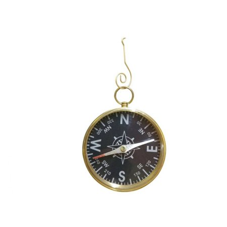 Solid Brass Captain's Black Faced Compass Christmas Ornament 5