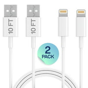 iPhone Charger Lightning Cable, 2 Pack 10FT USB Cable, For Apple iPhone Xs, Xs Max, XR, X, 8, 8 Plus, 7, 7 Plus, 6S, 6S Plus,iPad Air, Mini, iPod Touch, Case, Charging & Syncing Cord