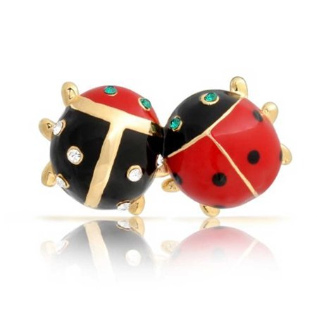 Lucky 2 Ladybug Red Black Gold Plated Enamel Green Eye Crystal Insect Lapel Push Pin