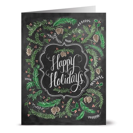 24 Note Cards - Noble Fir Happy Holiday - Blank Cards - Kraft Envelopes Included