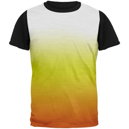Halloween Candy Corn Ombre Costume All Over Mens Black Back T Shirt](Halloween Popcorn Candy Corn Hands)