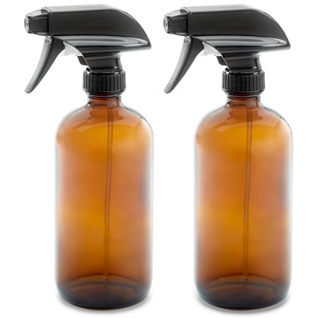2 Pack 16oz Empty Amber Dark Brown Glass Spray Bottles w/ Labels and Caps - Mist & Stream Trigger Sprayer - BPA Free - Lead Free- Boston Round Heavy Duty Bottle - For Essential Oils, Cleaning,