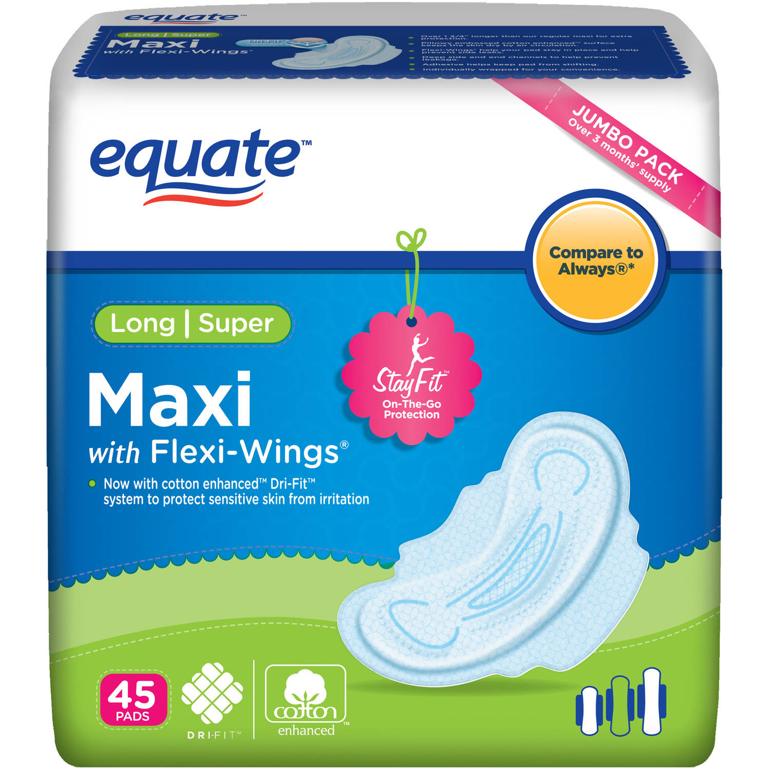 Equate Maxi Pads Long Super with Wings, 45 count