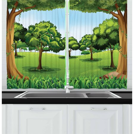Dark Wood Window - Forest Curtains 2 Panels Set, A Clear Day in the Woods Theme Cartoon Drawing Style Idyllic Summer, Window Drapes for Living Room Bedroom, 55W X 39L Inches, Green Pale Blue Caramel, by Ambesonne