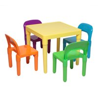 kids Table and 4 Chair Set, Easy Clean 5 Pcs Toddler Table and Chair Set, Child Art Table/Study/Picnic/Activity/Dining Table, Playroom Furniture for 3+ Years Old Boy/Girl, Multicolor, W5560