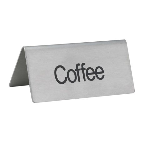 Winco Coffee - Winco SGN-103 Stainless Steel Tent Sign,