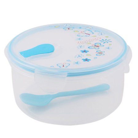 - Travel Outdoor Plastic Cylinder Flower Pattern Lunch Food Holder Box Case Blue