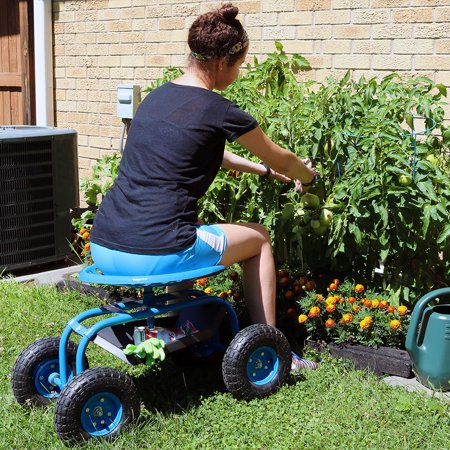 Sunnydaze Rolling Garden Cart with 360 Degree Swivel Seat & Tray, Blue