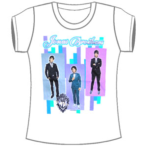 Jonas Brothers Women's  Group Stripe Girls Jr Soft tee White