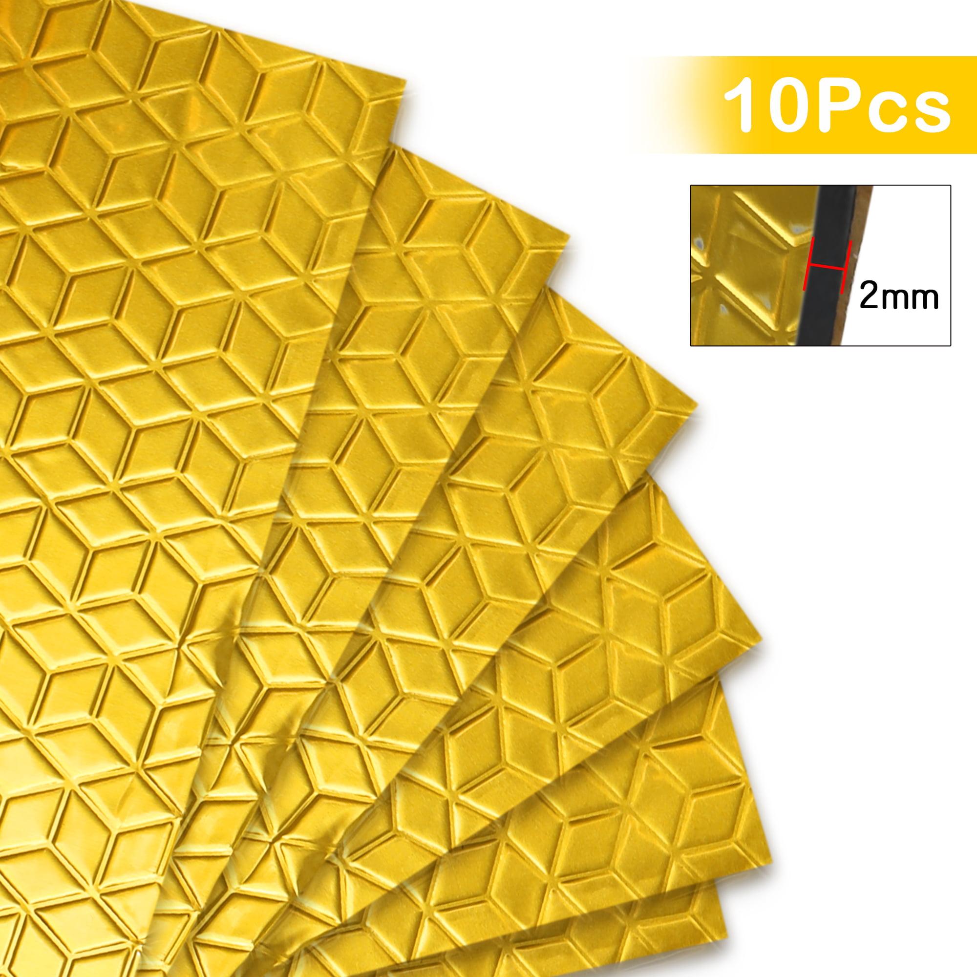 10pcs Gold Tone 80mil 40sqft Vehicle Car Sound Deadener Heat Insulation Mat