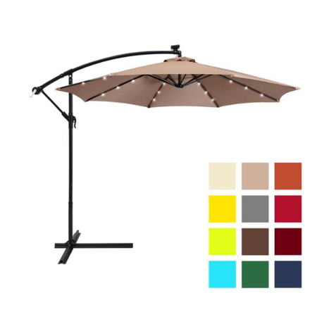 Lar Led Offset Hanging Market Patio Umbrella W Easy Tilt Adjustment Polyester Shade 8 Ribs For Backyard Poolside Tan