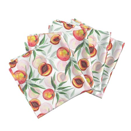 - Watercolor Fruit Whimsical Peaches Cotton Dinner Napkins by Roostery Set of 4
