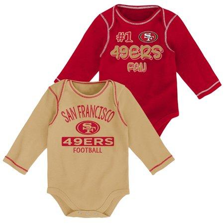 Newborn & Infant Scarlet/Gold San Francisco 49ers 2-Pack Long Sleeve Bodysuits