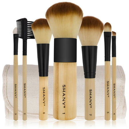 SHANY Bamboo Brush Set - Vegan Brushes With Premium Synthetic Hair & Cotton Pouch - (Best Hair For Makeup Brushes)