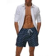 Mens Boys Swim Shorts Swim Trunks Print Swimwear Beachwear Underwear Swimsuit Board Shorts With Pockets Beach Pants Casual Quick Dry Swimming Surfing Bathing Summer Fall Blue Zebra Print M