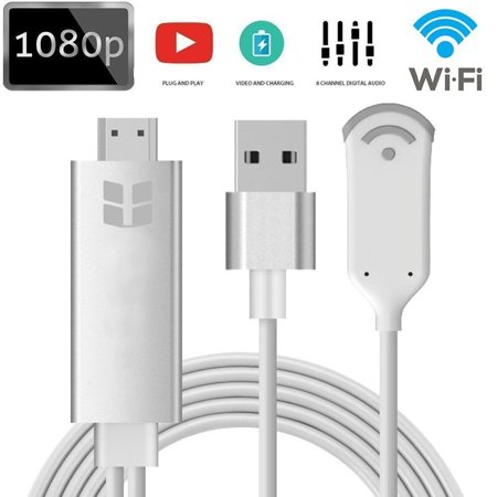 Wireless HDMI Dongle, Mini Wireless Display WLAN Receiver Support 1080P Full HD & AV Dual Output Display Airplay Receiver for iOS iPhone iPad/Android Smartphones/ Windows/ Macbook (S8 plus),