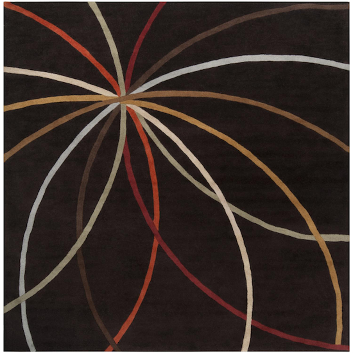 6' x 6' Plasma Elektra Contemporary Multi-Colored and Brown Wool Area Throw Rug