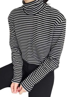 48e2366e515 Product Image Funcee Women Turtleneck Striped Blouse Lady Slim Long Sleeve  Tops T-shirt Tee
