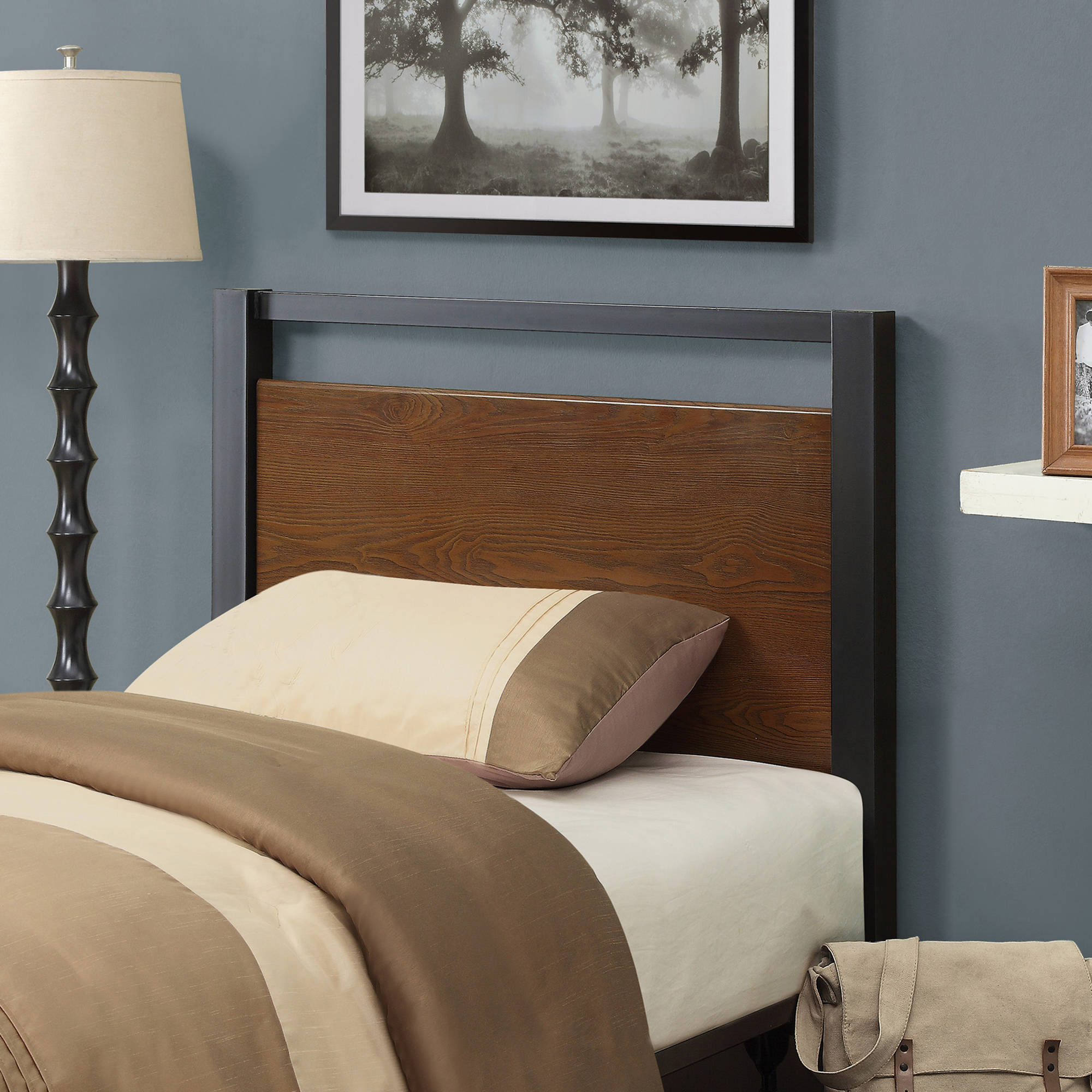 Better Homes & Gardens Mercer Twin Headboard, Warm Brown Finish ...