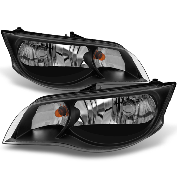 Fit 2003 2004 2005 2006 2007 ION 2 Doors Black L+R Side Headlights Assembly
