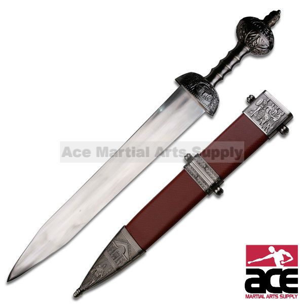 "31"" Roman Gladius Sword Maximus Gladiator Medieval Armor with Scabbard - Brown"