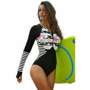 Women Long Sleeve Floral Printed Zip Front One Piece Swimsuit Surfing Swimwear Bathing Suit - S