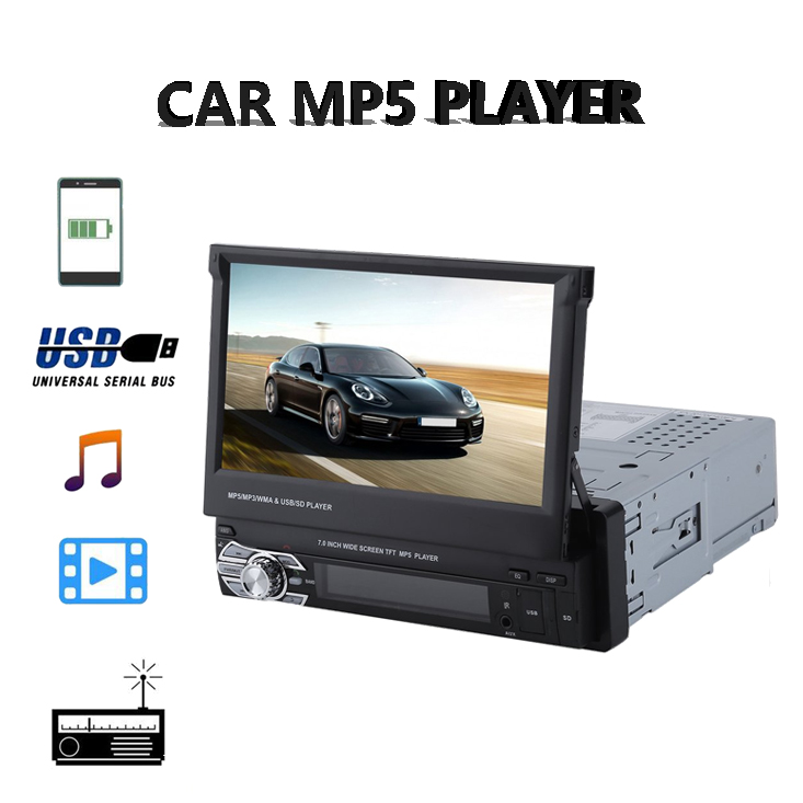 7inch Wide Screen Touch Screen Car MP5 Player Stereo Music Radio HD Bluetooth 1 DIN FM MP3 WMA USB AUX Player by LESHP