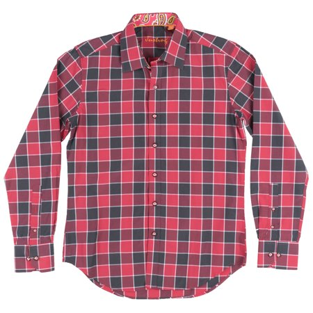 - Checkered Button Down Long Sleeve Woven Justing Collared Shirt Mens Red/Black