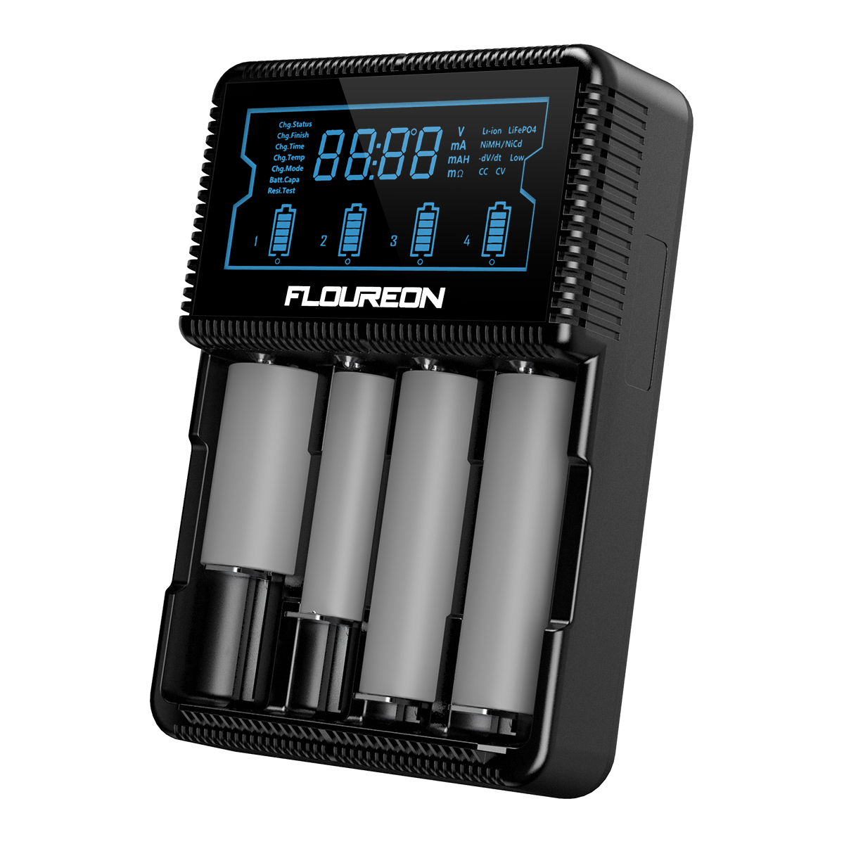 Floureon Universal Smart Battery Charger with LCD Display, Power Adapter, Car Adapter for Rechargeable Batteries Ni-MH AA AAA, Li-ion 26650 20700 21700 18650 18490 18350 17670 17500 16340 14500 10440