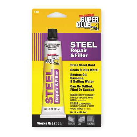 SUPER GLUE T-SR48 Gray Steel Repair And Filler, 1 fl. oz.
