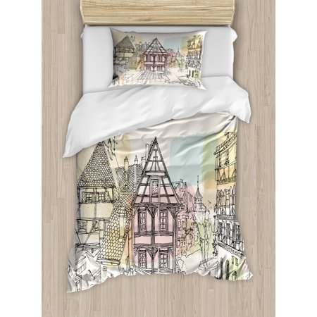 German Duvet Cover Set, Historic Traditional Scene Nuremberg Germany Classical Timber Houses Illustration, Decorative Bedding Set with Pillow Shams, Multicolor, by Ambesonne (Scene Bedding)