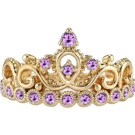 14K Yellow Gold Alexandrite Crown Ring (June)