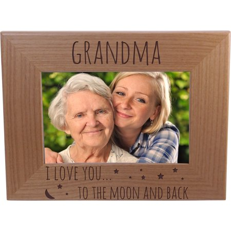 Grandma I Love You To The Moon And Back - 4x6 Inch Wood Picture Frame - Great Gift for Mothers's Day Birthday or Christmas Gift for Mom Grandma Wife ()