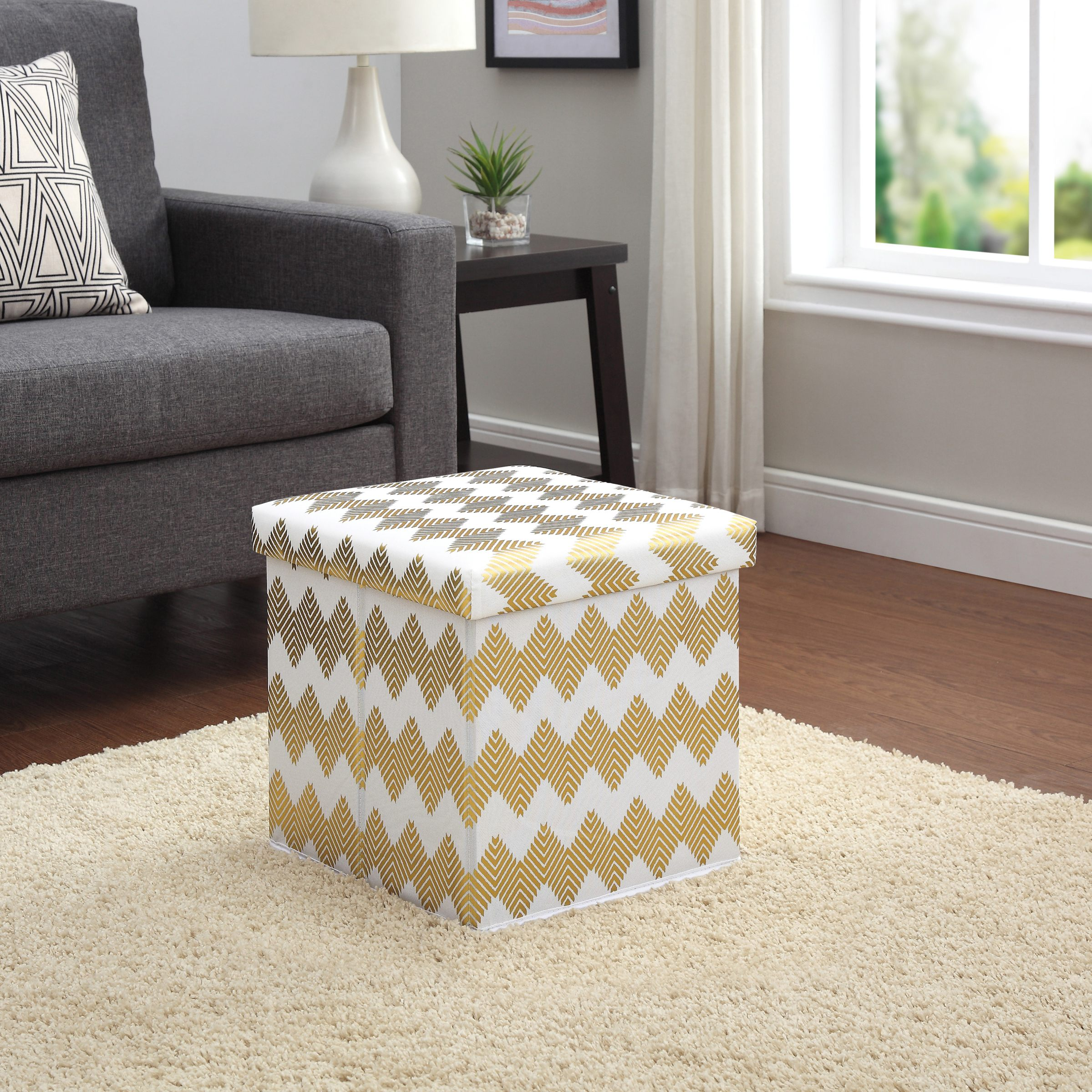 Mainstays Collapsible Storage Ottoman, Chevron Gold