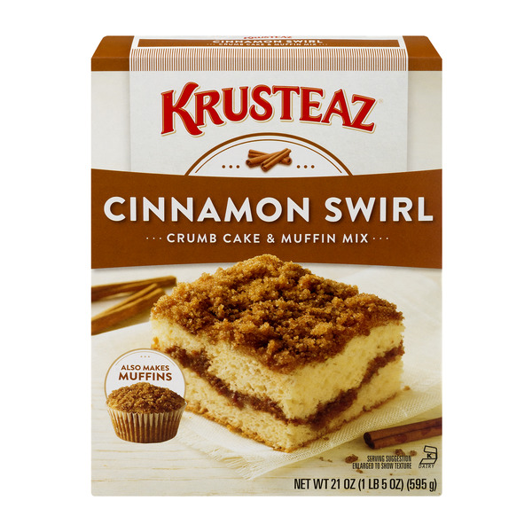 (5 Pack) Krusteaz Cinnamon Swirl Crumb Cake and Muffin Mix, 21-Ounce Box