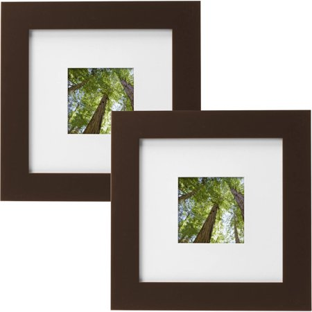 "Mainstays Museum 8"" x 8"" Matted to 4"" x 4"" Solid Wood Picture Frame, Mahogany, Set of 2"