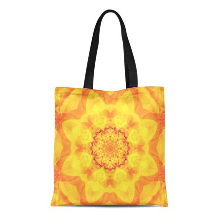 ASHLEIGH Canvas Tote Bag Red Amber Abstract Kaleidoscope Orange Beautiful Bright Flower Yellow Durable Reusable Shopping Shoulder Grocery Bag - Orange Tote Bag