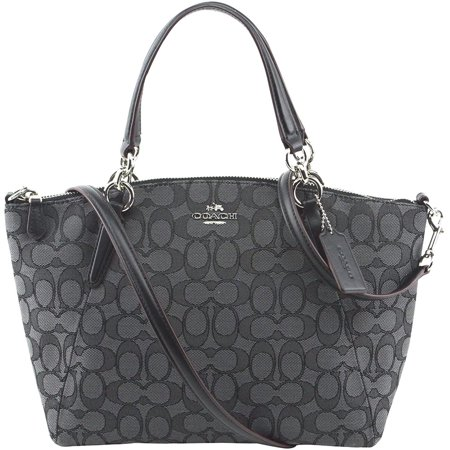Signature Satchel (NEW COACH (F27580) SIGNATURE BLACK SMOKE MINI KELSEY SATCHEL BAG HANDBAG )