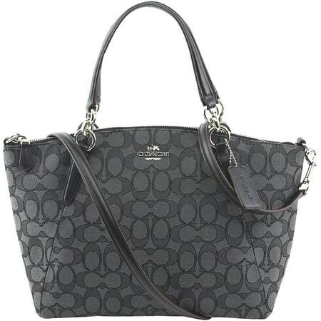 NEW COACH (F27580) SIGNATURE BLACK SMOKE MINI KELSEY SATCHEL BAG - Black Signature Bag