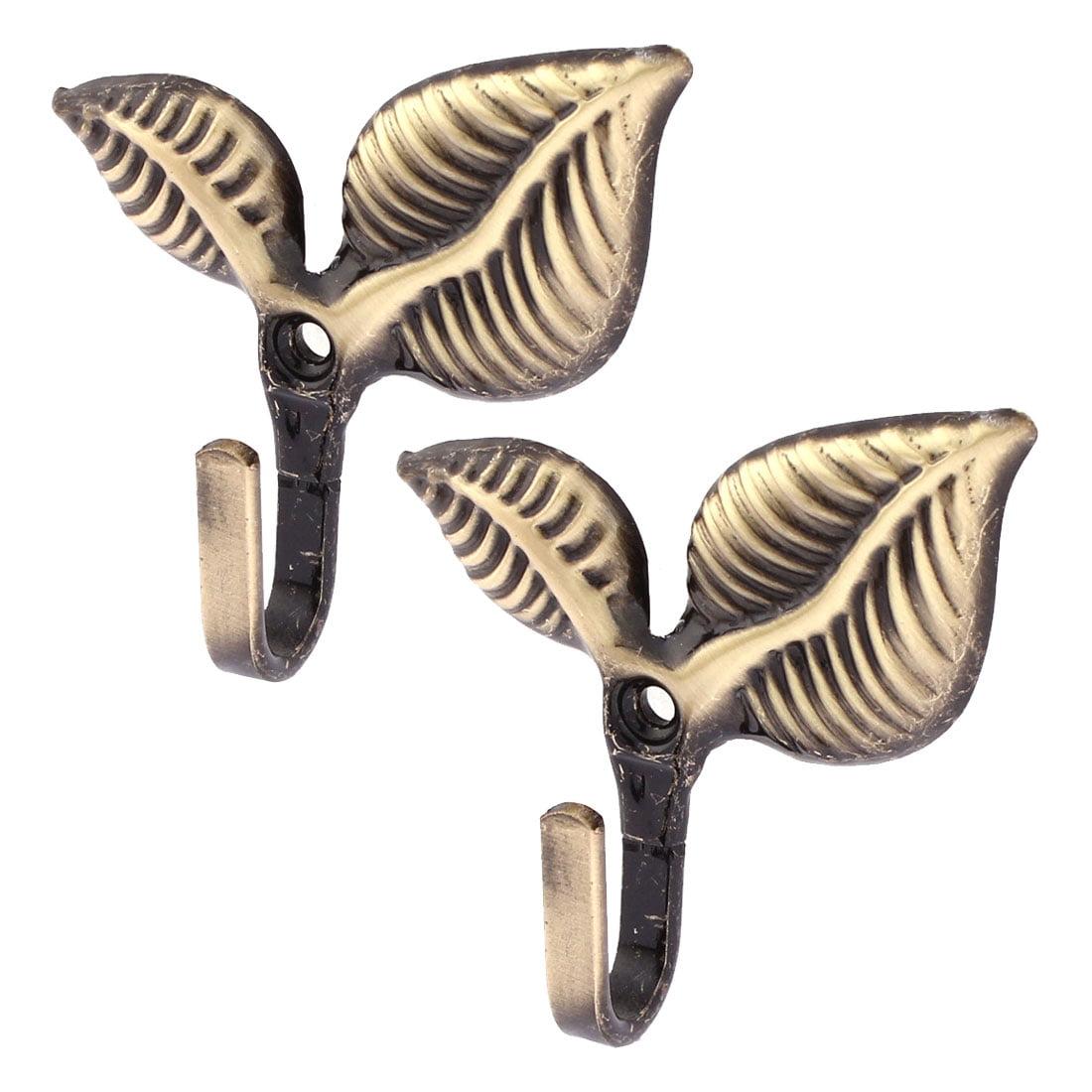 Unique Bargains 2Pcs Double Leaf Pattern Drapery Curtain Hook Holder Hanger Tieback Bronze Tone