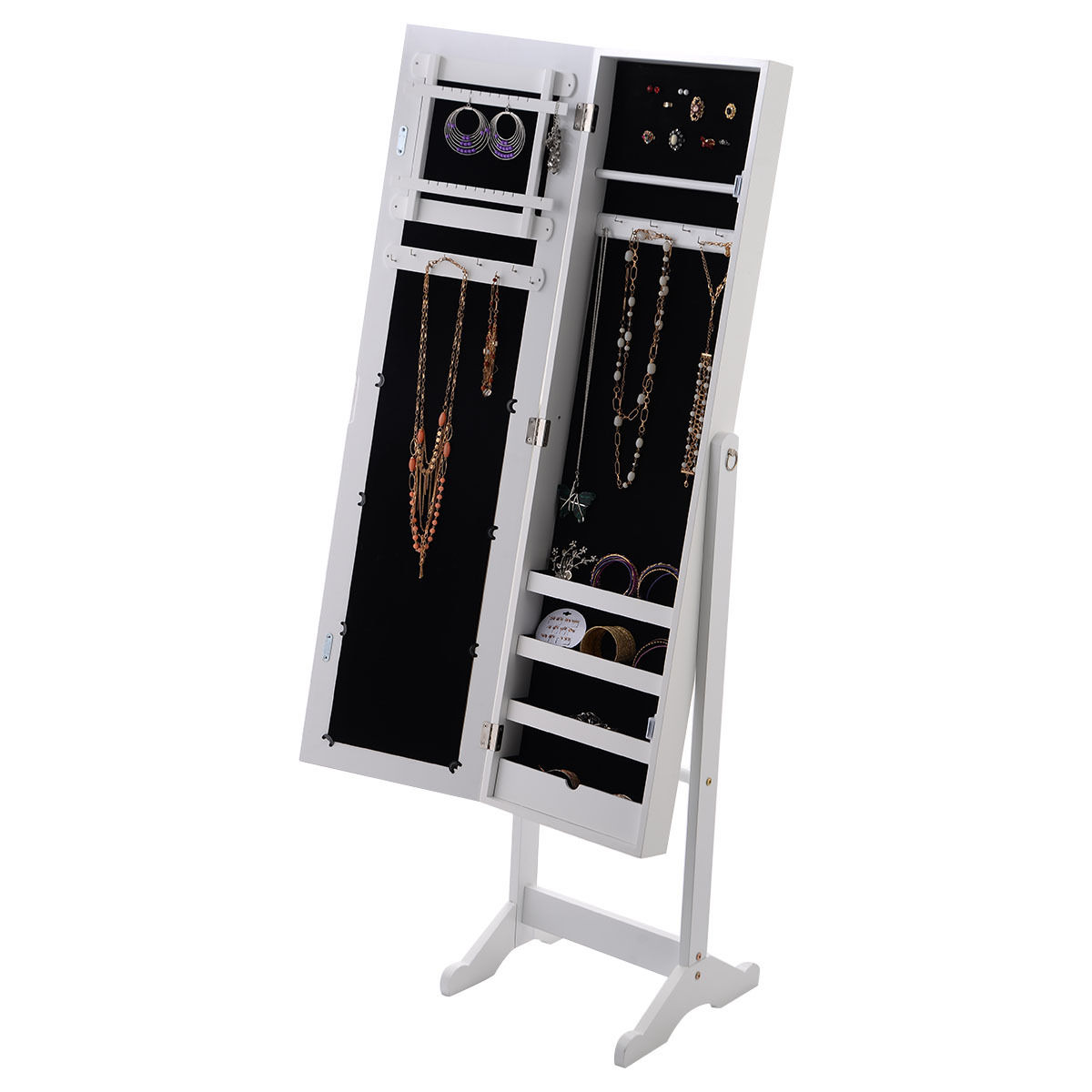 Costway Mirrored Jewelry Cabinet Armoire Mirror Organizer Storage Box Ring w  Stand by Costway