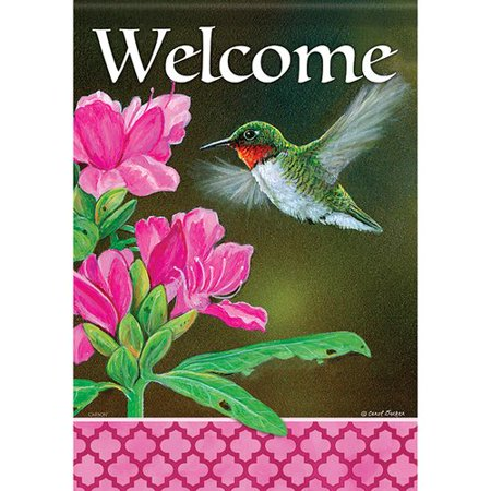 Hummingbird Accent (Carson Home Accents Floral Hummingbird 2-Sided Polyester 1'6 x 1 ft. Garden Flag)