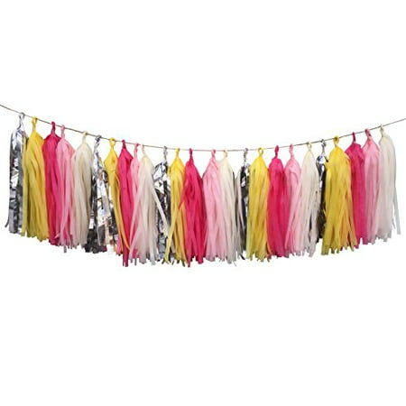 Tissue Paper Pom Poms Diy (Fonder Mols 25pcs Tissue Paper Tassels DIY party Garland Bunting Pom Pom Color Ivory Yellow Pink Rosy Red)