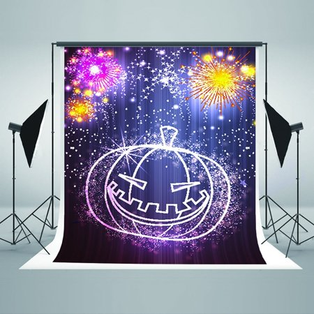 GreenDecor Polyster 5x7ft Halloween Theme Photography Backdrops Pumpkin Color Fireworks Photo Booth Backdrop Background for Children,Adult