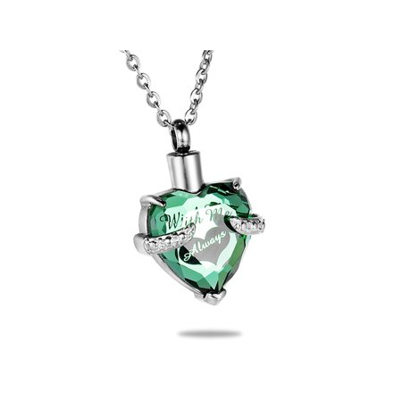 Peridot Hold Always In My Heart Cremation Jewelry Keepsake Memorial Urn Necklace