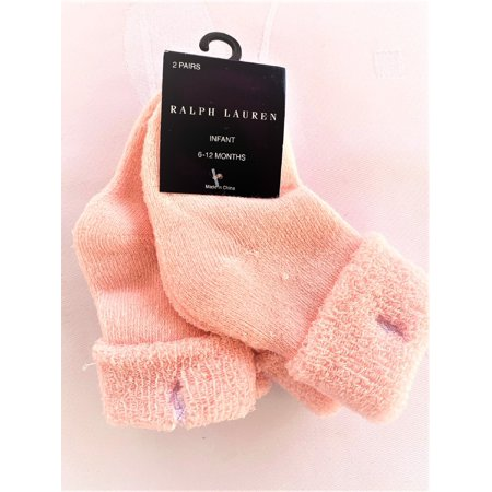 Ralph Lauren Infant Girls' 2 Pairs/Pack Socks, Size 6-12 Months, Pink