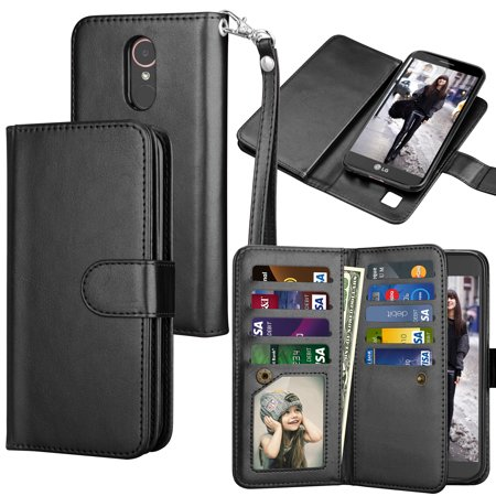 LG K20 Plus Case, LG K20 V Wallet Case, LG K10 2017 PU Leather Case, Tekcoo Luxury Cash Credit Card Slots Holder Carrying Folio Flip PU Leather Cover [Detachable Magnetic Hard Case] Kickstand -Black (Hard Leather Carry Case)