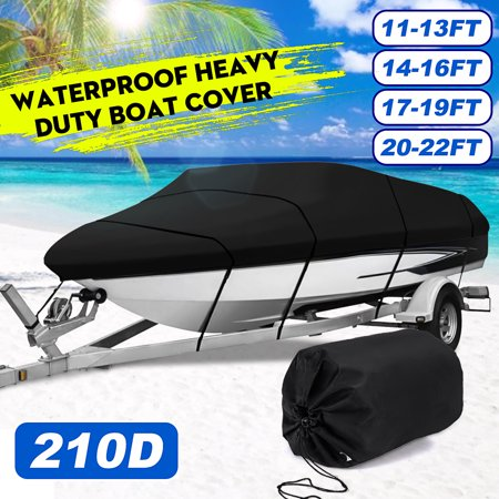 Waterproof and Sunscreen Heavy Duty Boat Cover With Storage Bag Fits Boats 11-13ft/14-16ft/17-19ft/20-22ft For V-hull, Runabouts, Fishing, SKI Ski Nautique Boat Cover