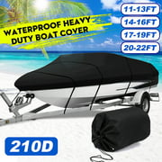 Waterproof and Sunscreen Heavy Duty Boat Cover With Storage Bag Fits Boats 11-13ft/14-16ft/17-19ft/20-22ft For V-hull, Runabouts, Fishing, SKI