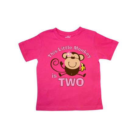Little Monkey Girl 2nd Birthday Toddler T-Shirt](Little Girls Birthday Themes)